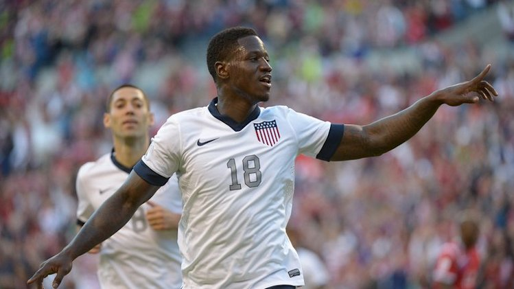 Eddie Johnson of the USA celebrates his goal against Panama, in Seattle, on June 11, 2013