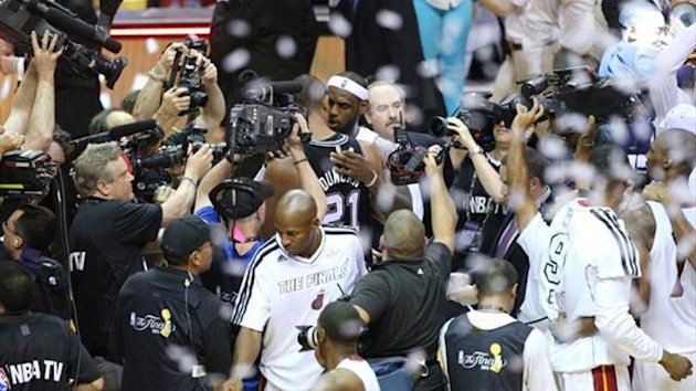 Miami Heat's Lebron James after winning Game Seven of the NBA Finals (AFP)
