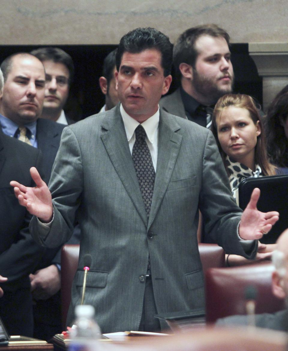 Sen. Mark Grisanti, R-Buffalo, talks about his affirmative vote for gay marriage  in the Senate Chamber at the Capitol in Albany, N.Y., on Friday, June 24, 2011.  (AP Photo/Mike Groll)