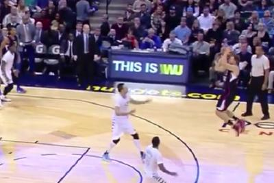 Blake Griffin jumps, catches and drains a three all in one effortless motion