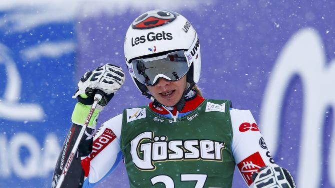 Baud from France reacts after  her second run of the World Cup Women's Giant Slalom race in Kuehtai ski resort