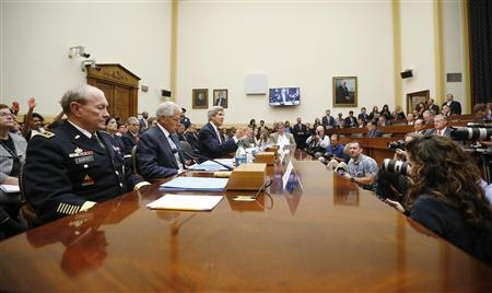 U.S. Secretary of State Kerry testifies at a U.S. House Foreign Affairs Committee hearing on Syria, alongside U.S. Secretary of Defense Hagel and General Dempsey in Washington
