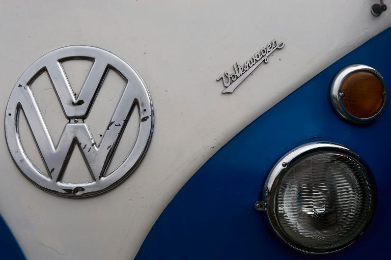 Detail of a Kombi during an exhibition at the Volkswagen plant in Sao Bernardo do Campo, southern Sao Paulo, Brazil on December 8, 2013
