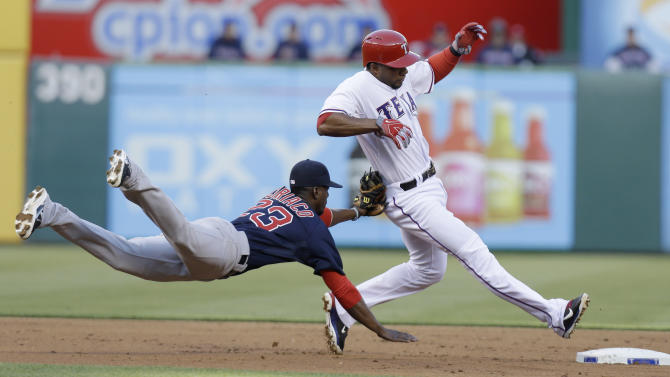 Texas Rangers' Elvis Andrus, right, is tagged out by Boston Red Sox shortstop Pedro Ciriaco (23) after he was caught off second base during the first inning of a baseball game Friday, May 3, 2013, in Arlington, Texas. (AP Photo/LM Otero)