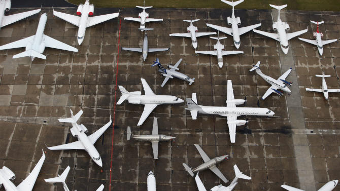 An aerial view of the 50th Paris Air Show at Le Bourget airport, north of Paris, Wednesday, June 19, 2013. (AP Photo/Francois Mori)
