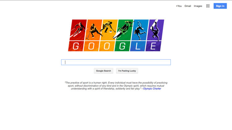 This screen shot shows the home page Google.com. With the Winter Games underway Friday Feb. 7, 2014 in Sochi, Google Inc. quietly but vibrantly added its voice Thursday to the chorus of U.S. companies speaking out against Russia's law restricting gay-rights activities by updating its iconic search page logo to depict illustrations of athletes skiing, sledding, curling and skating against a rainbow-colored backdrop. (AP Photo/Google.com)