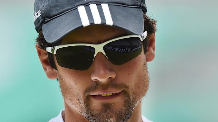 England's Alastair Cook attends a practice session at the Oval cricket ground in London on August 13, 2014