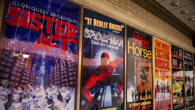"""FILE- This Jan. 19, 2012 file photo shows posters advertising Broadway shows, including the now closed """"Sister Act,"""" are displayed in Shubert Alley, in New York. The percentage of minority actors working on Broadway and at the top 16 not-for-profit theater companies in New York City rose to 23 percent during the 2011-2012 season. (AP Photo/Charles Sykes, file)"""