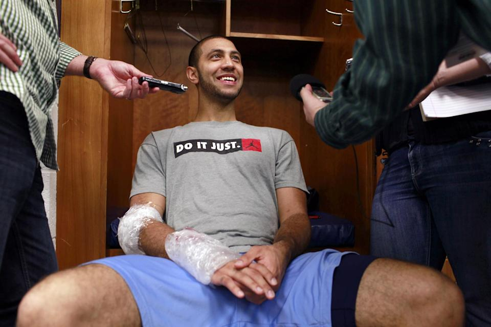 North Carolina guard Kendall Marshall answers questions in the locker room, Saturday, March 24, 2012, in St. Louis. North Carolina is scheduled to play Kansas in an NCAA tournament Midwest Regional final college basketball game on Sunday. (AP Photo/Jeff Roberson