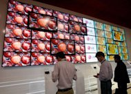 Visitors stop by a bank of LCD televisions at the LG Electronics booth at the 2009 International Consumer Electronics Show at the Las Vegas Convention Center, 2009. LG Display, one of the world's largest flat screen makers, said it had started work on a new liquid crystal display plant in China
