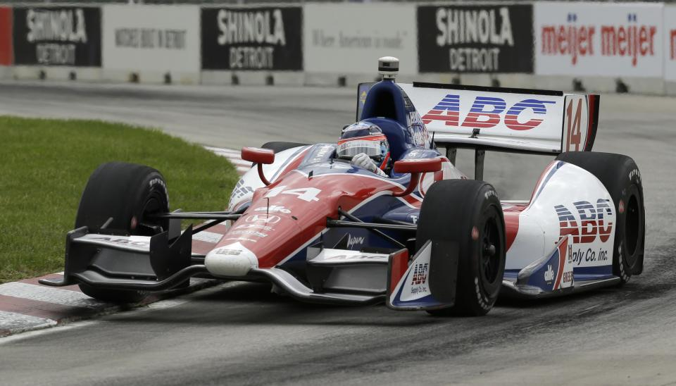 Takuma Sato, of Japan, races during the IndyCar Detroit Grand Prix auto race on Belle Isle in Detroit, Sunday, June 2, 2013. (AP Photo/Paul Sancya)