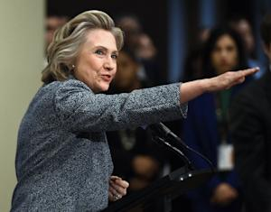 Hillary Clinton answers questions from reporters on …