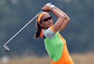 Jennifer Rosales, shown in a file picture, came alive with five back-nine birdies to join Lindsay Wright, Caroline Hedwall and Katie Futcher atop a crowded leaderboard in the Mobile Bay LPGA Classic