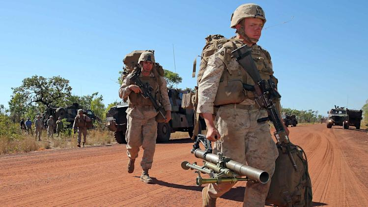 United States Marines from the Marine Rotational Force arrive to begin Exercise Koolendong at the Bradfield training area located in the Northern Territory in this picture released by the Australian Defence Force