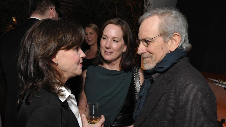 IMAGE DISTRIBUTED FOR THE HOLLYWOOD REPORTER - From left, Sally Field, Kathleen Kenedy and Steven Spielberg attend The Hollywood Reporter Nominees' Night at Spago on Monday, Feb. 4, 2013, in Beverly Hills, Calif. (Photo by John Shearer/Invision for The Hollywood Reporter/AP Images)