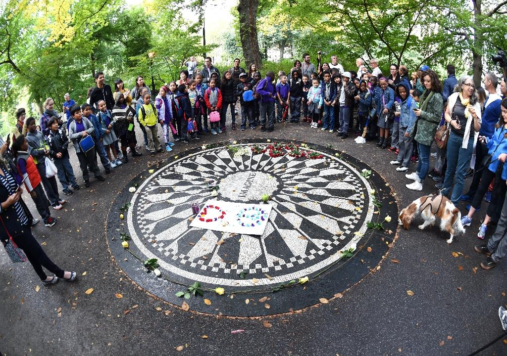 Lennon fans mark 75th birthday with Central Park sing-in