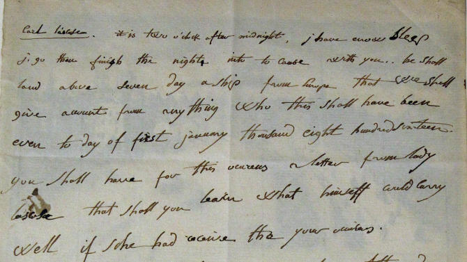 A March 9, 1816 letter written in English by French emperor Napoleon the 1st is presented Sunday, June 10, 2012 in Fontainebleau, South of Paris, before being auctioned. The letter was sold euro 325 000, ($406 000). (AP Photo/Remy de la Mauviniere)