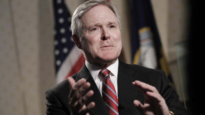 FILE - In this Aug. 26, 2010 file photo, Navy Secretary Ray Mabus is interviewed by The Associated Press at the Pentagon in Washington. The Navy on Wednesday, Jan. 23, 2013 said it will conduct random blood-alcohol tests on its sailors in the United States starting next month, a sign of how concerned the service's leaders have become about the effects alcohol abuse is having on the force. The tests are part of Mabus' 21st Century Sailor and Marine Initiative, an expansive program intended to improve the well-being of sailors and Marines after more than a decade at war. (AP Photo/Charles Dharapak, File)