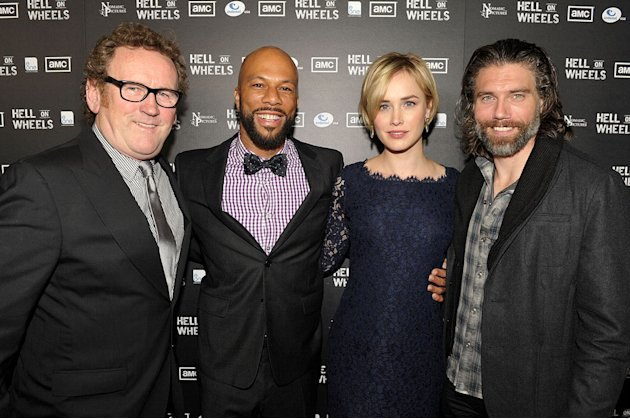 Colm Meaney, Common, Dominique McElligott, and Anson Mount arrive at the premiere of AMC's &quot;Hell on Wheels&quot; at LA Live on October 27, 2011 in Los Angeles, California. 