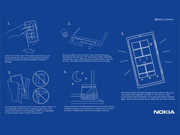 Nokia recomienda secar el celular con arroz