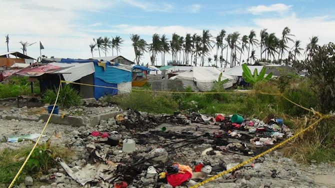 The remains of a tent serving as temporary shelter for victims of Super Typhoon Haiyan, is pictured in Tacloban City Leyte province, central Philippines on May 28, 2014