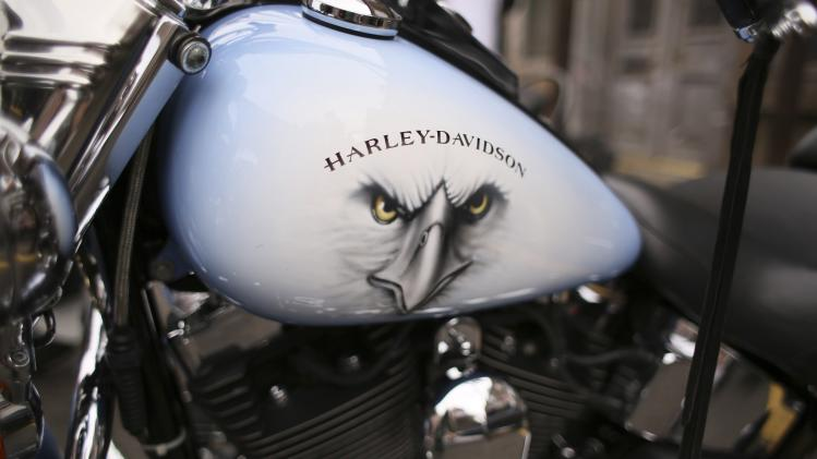 A detail of a Harley Davidson bike is seen as it is parked in Brechin, Angus, Scotland
