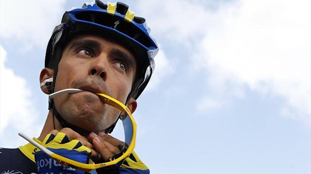 Spanish Cyclist Alberto Contador of Spain, at the start of the Eneco Tour in Waalwijk, Netherlands, Monday Aug. 6, 2012. Alberto Condador makes his return to racing at the Eneco Tour, after having served a 6-month ban for doping that also saw him stripped