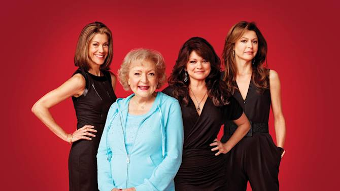 """This undated publicity photo released by courtesy of TV Land shows, from left, Wendie Malick, Betty White, Valerie Bertinelli and Jane Leeves from TV Land's """"Hot in Cleveland.""""  White reunites with her former co-stars, Mary Tyler Moore, Cloris Leachman, Georgia Engel and Valerie Harper for an upcoming """"Cleveland"""" episode. (AP Photo/TV Land)"""