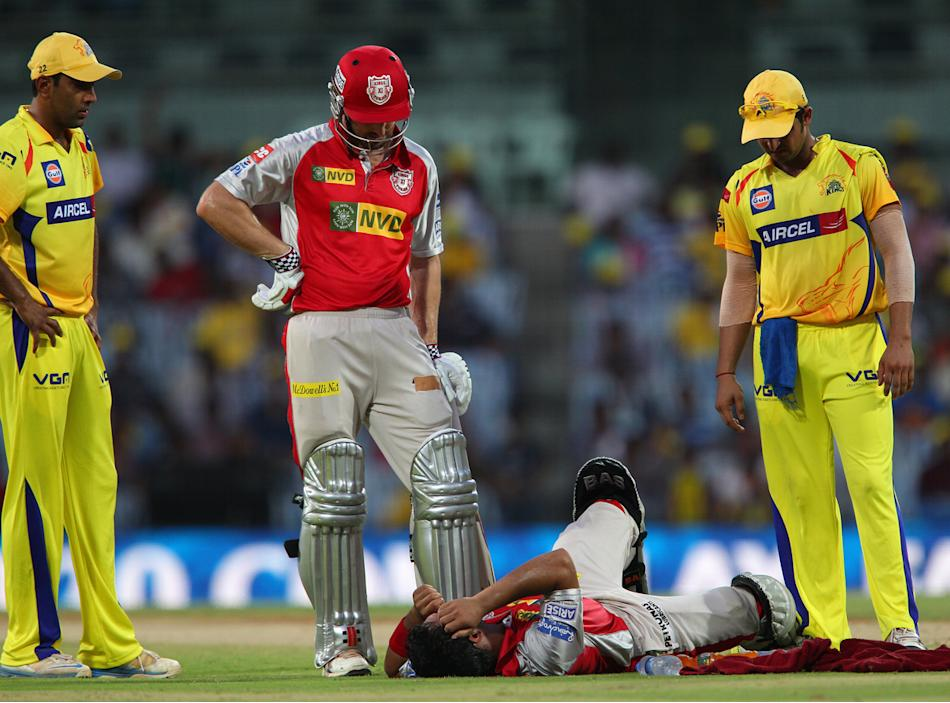 Mandeep Singh lies injured on the ground during match 45 of the Pepsi Indian Premier League between The Chennai Superkings and the Kings XI Punjab held at the MA Chidambaram Stadium in Chennai on the