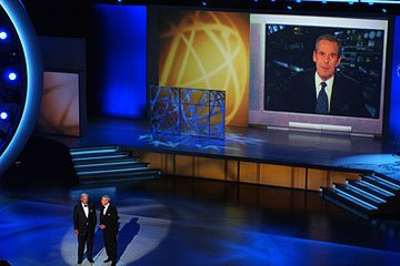 Tom Brokaw and Dan Rather with a Peter Jennings tribute Emmy Awards - 9/18/2005