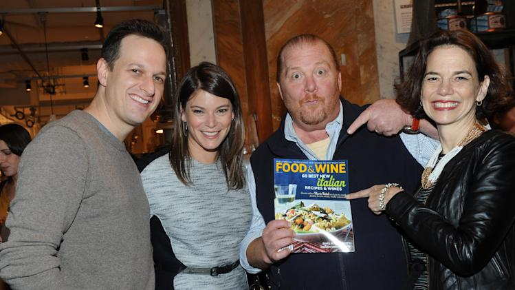 IMAGE DISTRIBUTED FOR FOOD & WINE - Actor Josh Charles, left, FOOD & WINE's Gail Simmons and editor in chief Dana Cowin, right, celebrate Mario Batali, second right, who guest-edited the April issue of FOOD & WINE, during a party at Eataly in New York, Wednesday, March 6, 2013.  (Photo by Diane Bondareff/Invision for FOOD & WINE/AP Images)