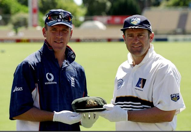 Ashes Australia v England Captains Alec Stewart of England and Mark Taylor