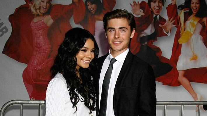 "Vanessa Anne Hudgens and Zac Efron arrive at the Los Angeles Premiere of ""High School Musical 3"" at the Galen Center at the University Of Southern California on October 16, 2008 in Los Angeles, California."