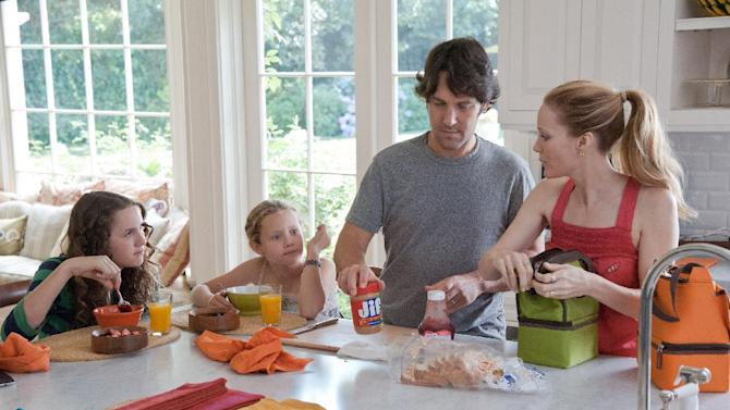 "This publicity film image released by Universal Pictures shows, from left, Maude Apatow, Iris Apatow, Paul Rudd and Leslie Mann in a scene from the film, ""This is 40."" (AP Photo/Universal Pictures, Suzanne Hanover)"