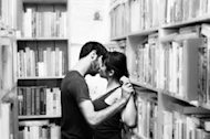 kissing in library