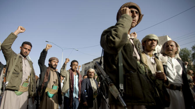 Houthi Shiite rebels chant slogans during a rally to show support for their leader Abdel-Malik al-Houthi in Sanaa, Yemen, Friday, Feb. 27, 2015. Yemen's Shiite rebel leader lashed out at Saudi Arabia on Thursday, accusing it of seeking to split the country following his group's power grab, as a U.N. envoy met the embattled Yemeni president who has fled the capital, Sanaa. (AP Photo/Hani Mohammed)