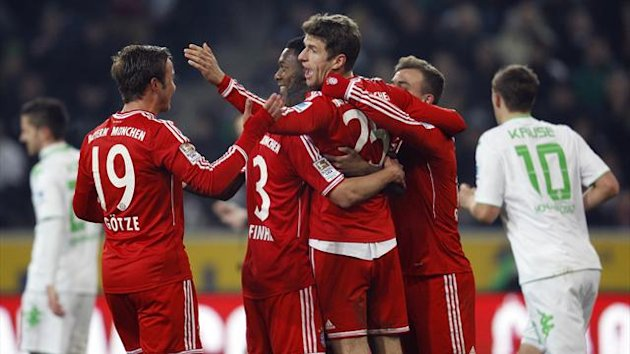 Bayern Munich celebrate a goal against M'Gladbach