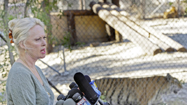 FILE - In this Dec. 4, 2007 file photo, actress Tippi Hedren speaks at the Shambala Preserve in Acton, Calif. Hedren has devoted much of her life to rescuing big cats at her Shambala Preserve north of Los Angeles, home to 53 seized or abandoned exotic cats, and she doesn't think they make good pets. Legislation has been proposed in Congress that would ban private ownership of exotic cats.(AP Photo/Kevork Djansezian, File)