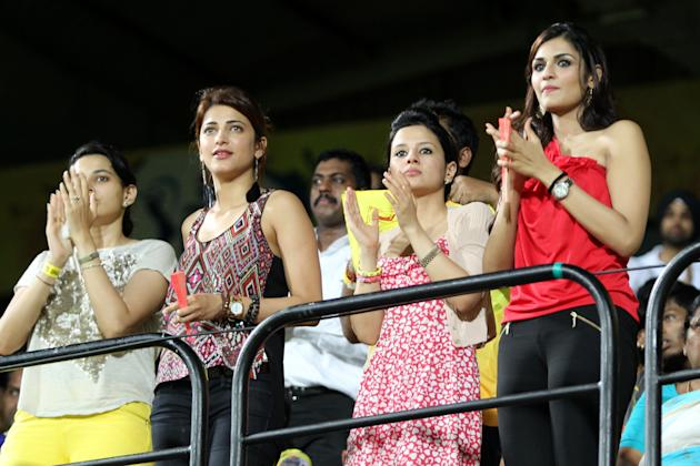 Sakshi Dhoni with Shruti Haasan and other friends during the final over of Chennai Superkings match vs Sunrisers Hyderabad held at the MA Chidambaram Stadiumin Chennai on the 25th April 2013.