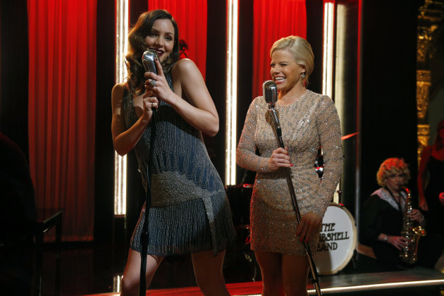 "<p>               This Dec. 12, 2012 photo released by NBC shows Katharine McPhee, left, and Megan Hilty on the set of ""Smash,"" premiering with a two-hour episode on Tuesday, Feb. 5, 2013 at 9 p.m. EST on NBC. (AP Photo/NBC, Will Hart)"