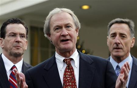 Newly elected Rhode Island Governor Lincoln Chafee (C) speaks to the media between other Governors-elect Dan Malloy of Connecticut (L) and Peter Shumlin of Vermont outside the West Wing of the White House in Washington, December 2, 2010, following their meeting at Blair House with U.S. President Barack Obama and Vice President Joe Biden. REUTERS/Jason Reed