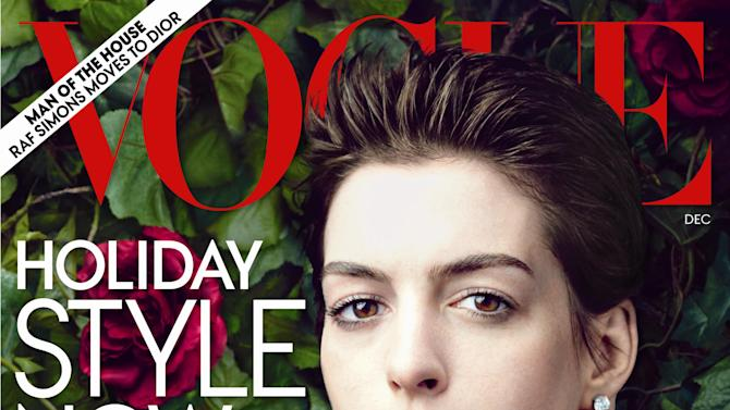 "This cover image provided by Vogue shows actress Anne Hathaway on the cover of the December issue of ""Vogue."" (AP Photo/Vogue)"