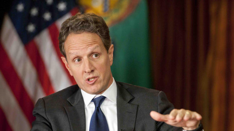 """This Nov. 30, 2012, photo provided by CBS News shows Treasury Secretary Timothy Geithner answering questions about averting the """"fiscal cliff"""" on the December 2nd edition of """"Face the Nation.""""  Geithner said Republicans have to stop using fuzzy """"political math"""" and say how much they are willing to raise tax rates on the wealthiest 2 percent of Americans and then specify the spending cuts they want, Treasury Secretary. (AP Photo/CBS News, Chris Usher)"""