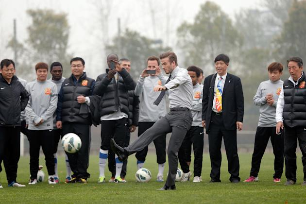 David Beckham Visits Wuhan Zall Football Club