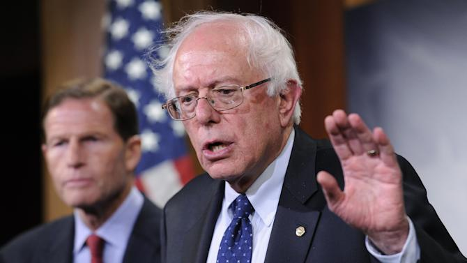 In this July 24, 2014, file photo, Sen. Bernie Sanders, I-Vt., right, with Sen. Richard Blumenthal, D-Conn., speaks during a news conference on Capitol Hill in Washington. The chairmen of the House and Senate Veterans Affairs committees have reached a tentative agreement on a plan to fix a veterans' health program scandalized by long patient wait times and falsified records covering up delays. Miller and Sen. Bernie Sanders, I-Vt., scheduled a news conference Monday, July 28, to talk about a compromise plan to improve veterans' care. (AP Photo/File)