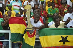 Ghanaian fans cheer for their team in Bata on February …