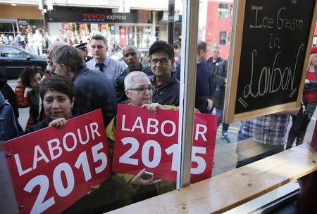 Supporters of Britain's opposition Labour Party leader Ed Miliband hold placards as they wait outside a coffee shop which he stopped at during a campaign visit to north London