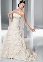 A Line Strapless Floor Length Attached Taffeta Beading Wedding Dress Style