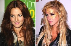 Ke$ha and Drew Barrymore wear hair feathers