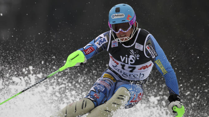 Ted Ligety, of the United States, competes during the first run of a men's World Cup slalom alpine ski event in Zagreb, Croatia, Thursday, Jan. 5, 2012. (AP Photo/Marco Trovati)